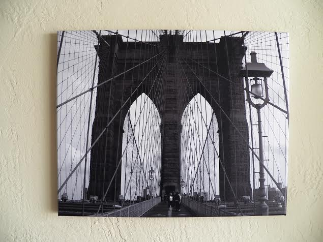 Pottery barn dupe close-up Brooklyn bridge print @alisamalisa @meredithspidel