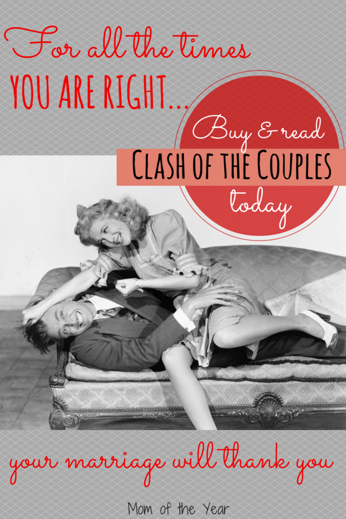 Marriage is tough business and couples tend to...clash. For all the times things get a little dicey in your marriage, snatch up this book--with all it's laughs and encouragement to love your spouse, it's exactly what you need to add some perspective to your marriage!