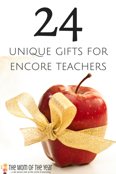 Don't forget all the teachers who are part of your child's day--check out these gifts for encore teachers and find something special to give the music teacher, library teacher, art teacher and gym teacher. 24 creative ideas--and I would never have thought of the last few! Genius!
