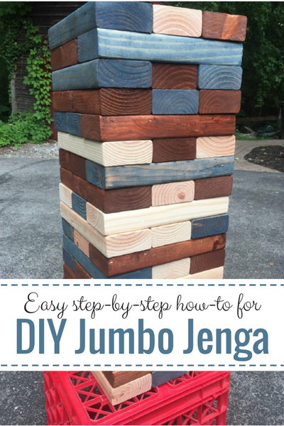Love yard games? Try this fun, DIY Jumbo Jenga project--makes a super family gift for loads of play and together time! Easy step-by-step with cool bonus tips included!