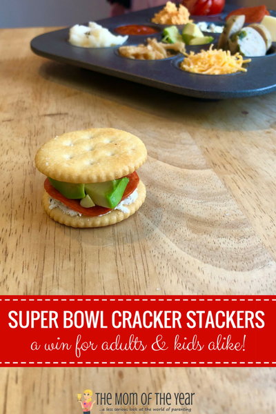 This DIY Cracker Stacker Bar is genius for your Super Bowl party! The brilliance is that it's perfect for young kiddos and adults alike--check out why it's so sweet, along with all the how-to you need, and get ready to enjoy this genius party hit idea! Score!