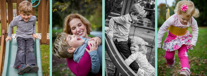 The natural way my kids are captured laughing and playing in these photos is fantastic! What a great family photo session--go book yours today!