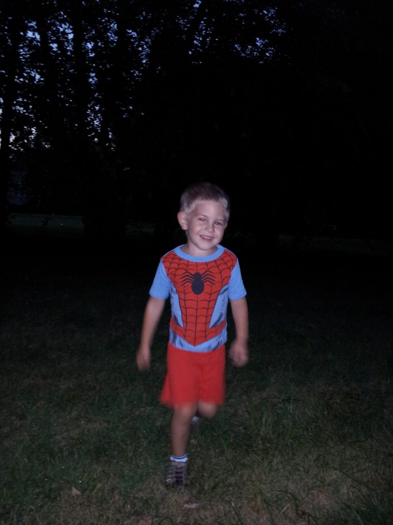 Rocking out the chase in the Spideman jammies
