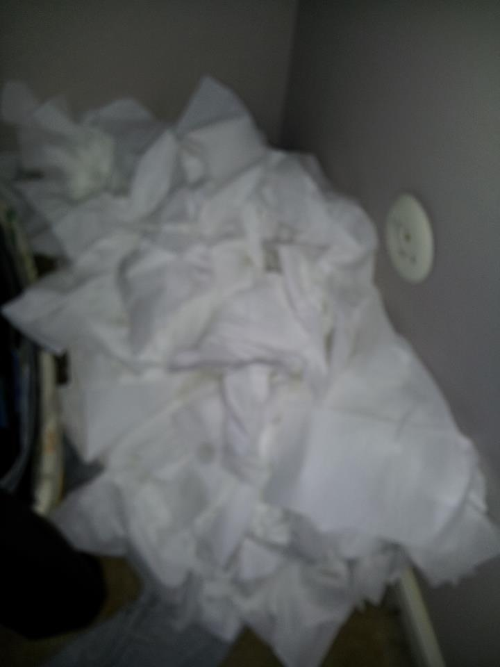 Horribly blurry pic of The Kleenex Pile, but knowing that the treasure lies underneath all the mess