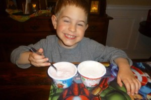 YOPLAIT! No, really this wasn't rigged.  And there were only minor bribes to get him to smile.
