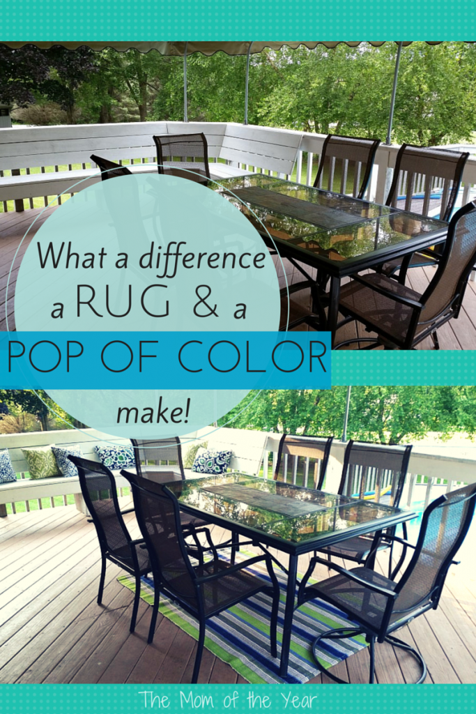 A rug and a few colorful pillows make all the difference! Spruce up your deck or patio with a little redecoration today!