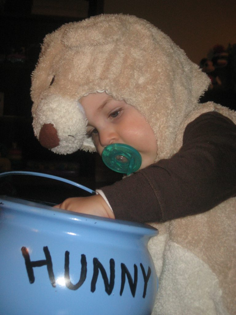 Baby Boy dressing as bear for Halloween with Hunny Pot @meredithspidel