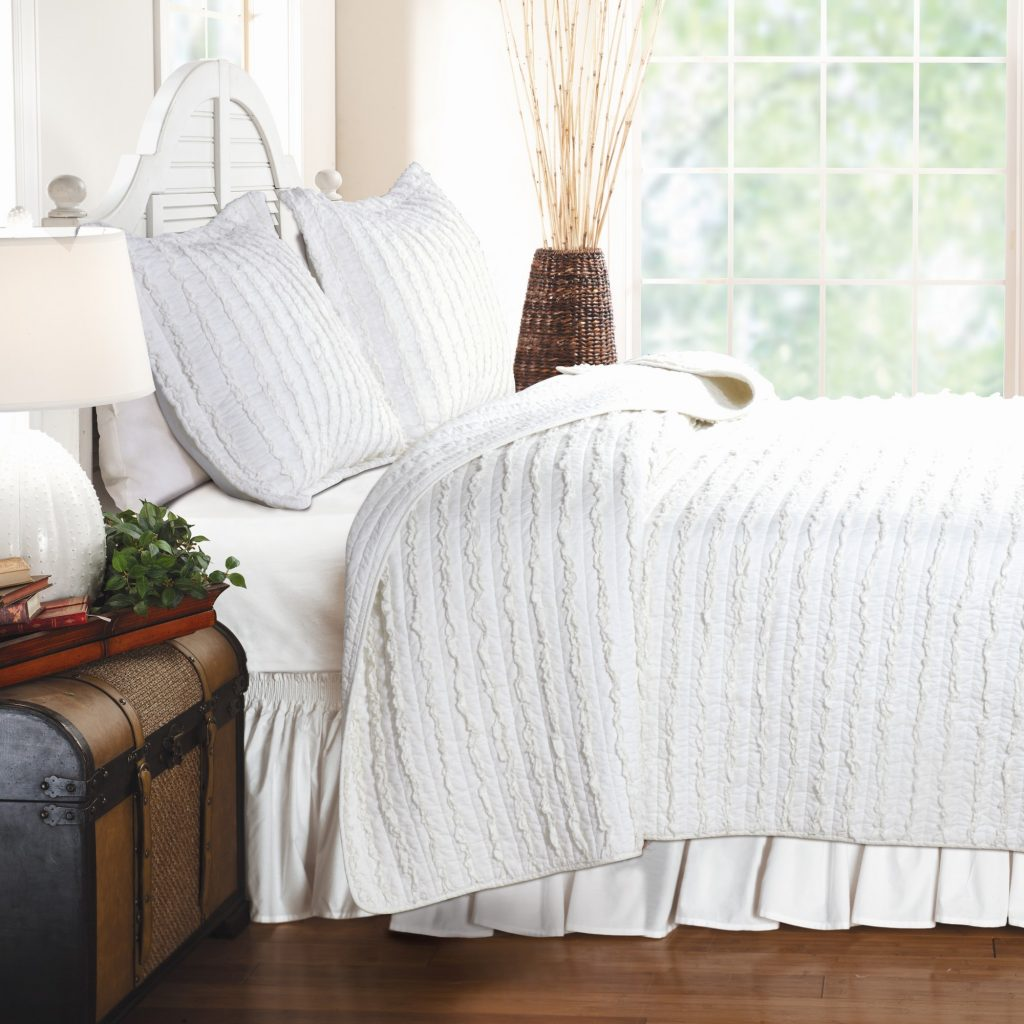 This fresh white quilt set will open up any room and make relaxation a priority!