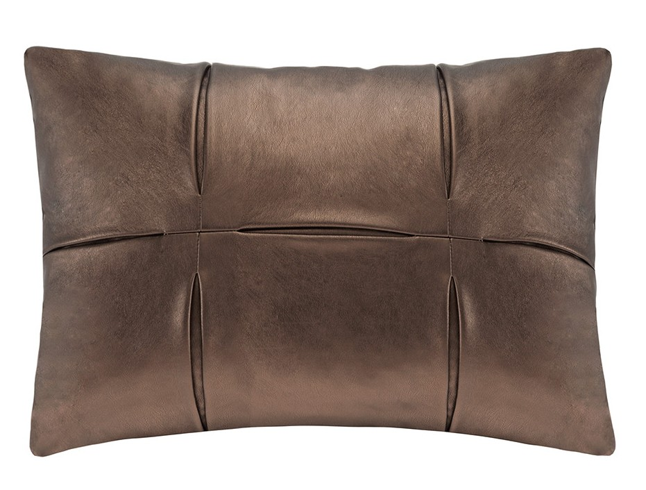 Faux leather pillows hold up well with kids and are a great way to add texture to furniture or a bed!