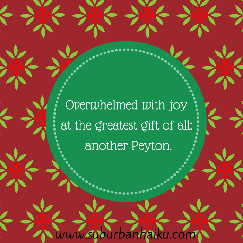 An original haiku from the talented Peyton Price of Suburban Haiku about the greatest gift of all!