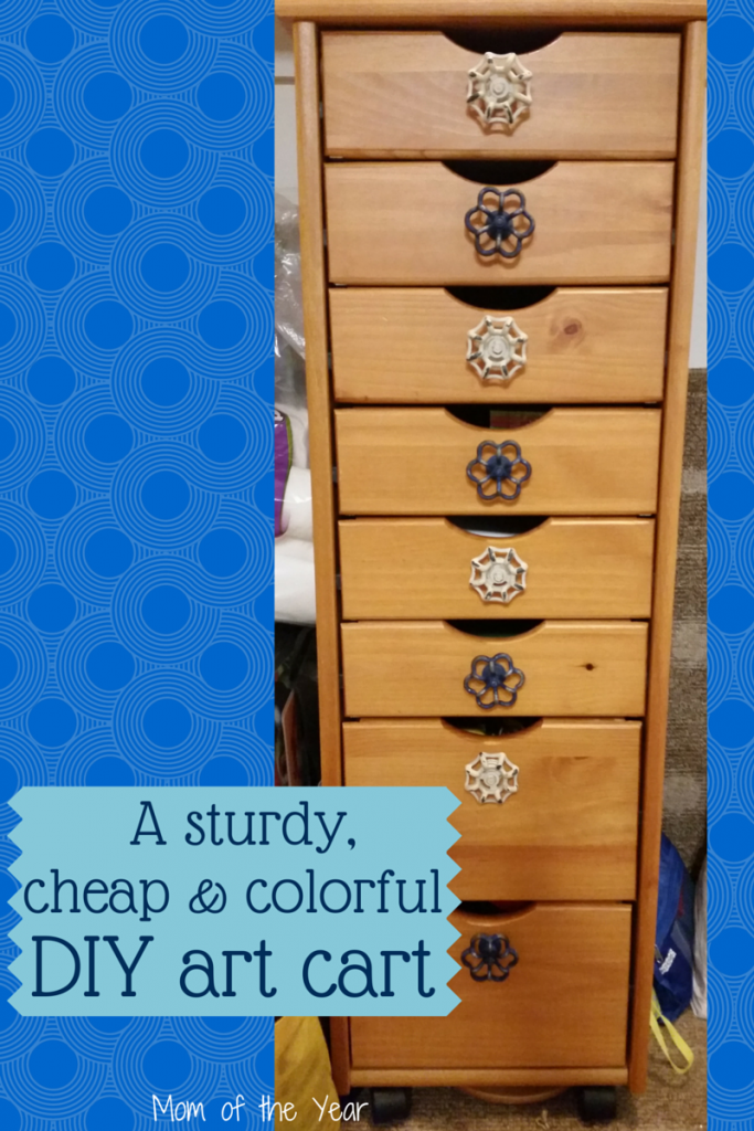 Our plastic art cart simply couldn't hold up to the wear and tear of my kids' daily use. Need something sturdy to organize all your crafting supplies? This fits the bill and with a sweet, colorful DIY touch that makes it user-friendly for small hands, you'll love it!