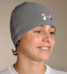My son has a ginormous head. It is the curse of his father's family. Regardless, those adorable kids' hat and mitten sets are a no-go with him. This cool Under Armour beanie will last for years.