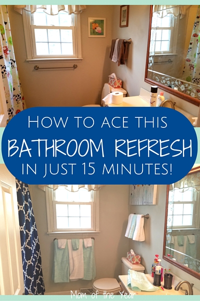 Is your bathroom looking tired and in need of some freshening up? Try this easy-peasy way to get the bathroom refresh you need. You can be as elaborate or as simple as you want, or as time and budget allow, but start with this idea to spruce up your decor and get your new look underway!