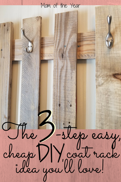 Ever DIY something in your home and then wonder, why the heck didn't I think of this sooner?! For us, our slice of genius home organization was this DIY Pallet Board Coat Rack. Seriously, so incredibly easy and cheap (you won't believe the final cost!), and had made ALL the difference by our front door as a place to hang coats. Read: Mommy feels a tad more sane with this in place! Why didn't we think of this easy project sooner?!