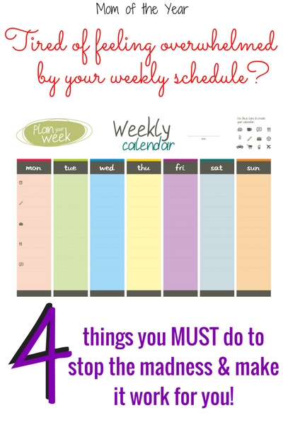 Feeling overwhelmed by your weekly schedule? Here are 4 heathly steps you MUST make to getting your daily grind organized and under control. I promise, this will help. Especially if you commit to the 3rd tip, you will finally be able work that white space and breaks into your family calendar and keep it there!