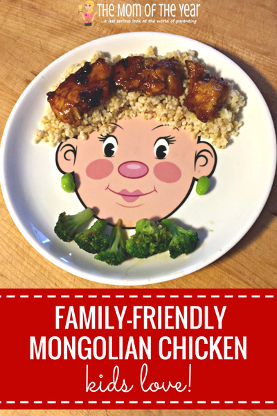 Busy day with no time to cook? No sweat! Try this Mongolian Chicken Takeout Fake Out Recipe for a family-friendly dinner that's super-quick, easy and DELICIOUS! I love this idea for healthy, nutritious side dish too!