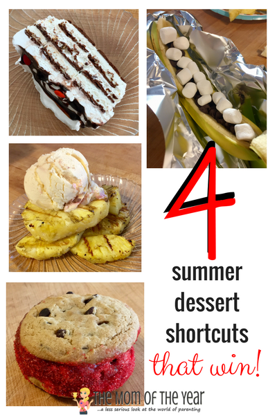 Need a last minute crowd-pleasing dessert? Look no further! Try these 4 family-friendly recipes and make quick work with these summer dessert shortcuts! Try these 4 family-friendly recipes and make quick work of the perfect summer desserts that will suit whatever summer fun occasion you have on hand! I LOVE the 3rd idea--bring on the campfire!