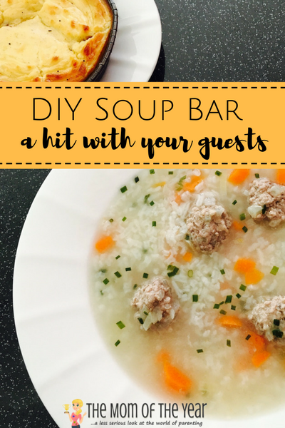 soup bLooking for your next hostessing win? This DIY soup bar is genius! All guests love it and its SO EASY!! Love this fab add-in ingredient idea!