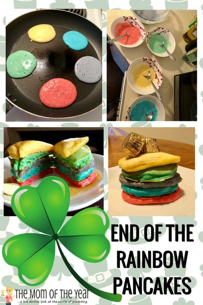 Looking for a perfect, easy St. Patrick's Day treat? These End of the Rainbow St. Patrick's Day Pancakes are a HUGE hit with the whole family--and so easy and fun! The perfect breakfast treat!
