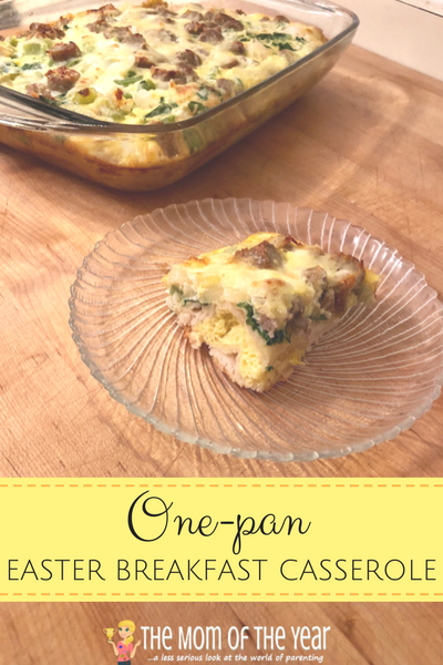Looking for quick, delicious and filling brunch recipe? This one-pan Easter breakfast casserole is a win! Toss it together easily and then hop back in on the Easter morning fun with your family! And make sure to check out the genius shortcuts to save even more time!