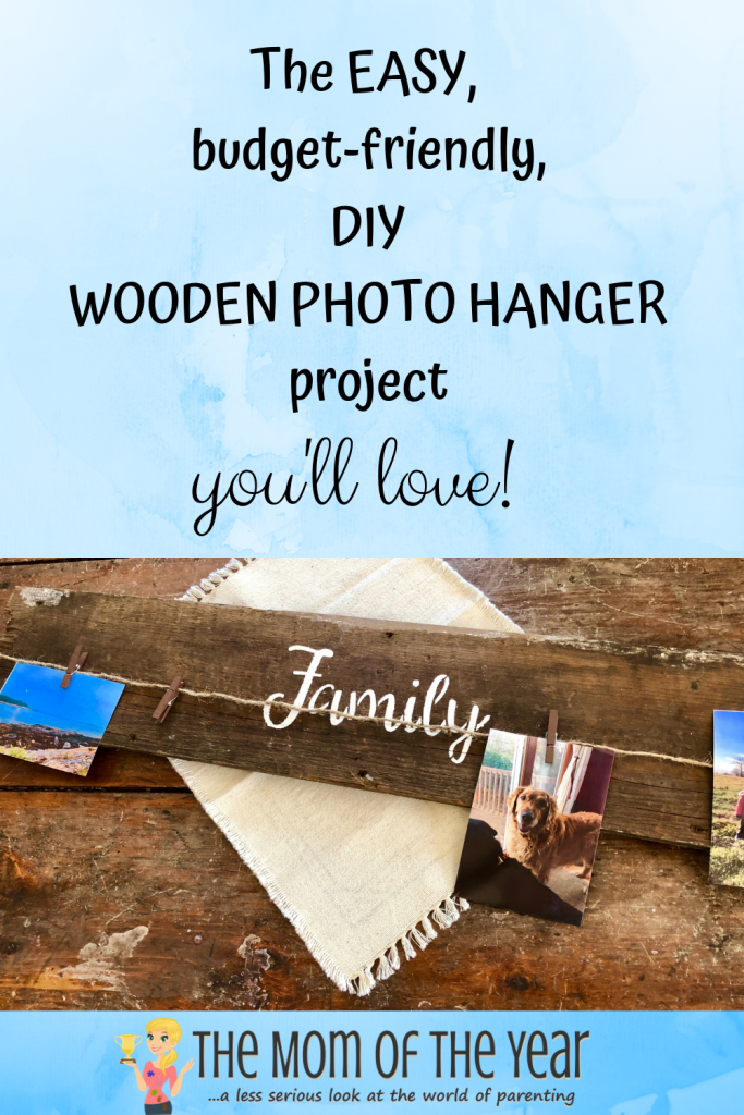 Not enough space to display all of your photos? This easy DIY wooden photo hanger to the rescue! This is such an easy, fun DIY project that you'll love! Display and change up all of your photos easily while keeping that farmhouse decor look! Check out the smart hack to save even more time in the directions!