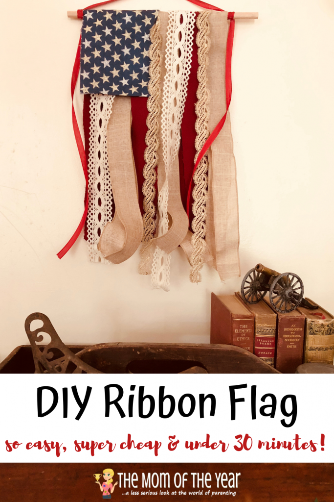 This DIY ribbon flag is the perfect July 4th decoration for your rustic, antiqued home decor theme! IT's SO EASY AND CHEAP to make, plus only takes 30 minutes! Make sure to grab the pro tip in the post too!