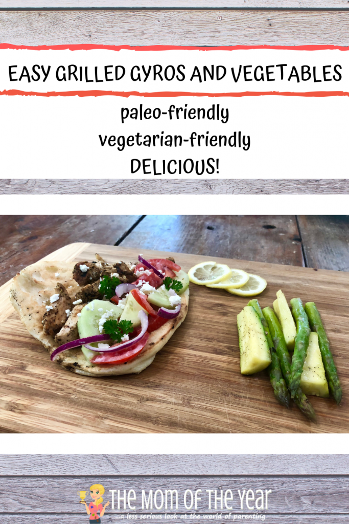 This easy grilled gyros and vegetable recipe is PERFECT for summer! No fuss, no mess, and can all be done outside on the grill! Check out the smart way to make the marinade too!