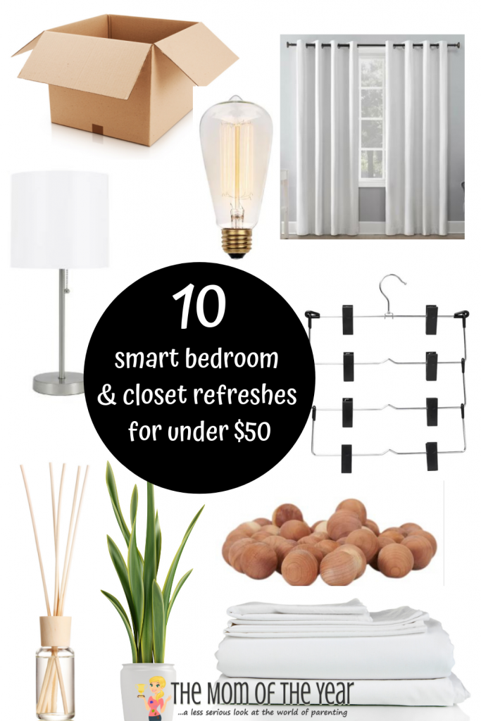 Say goodbye to the blehs! These smart hacks to refresh your bedroom and closet are all under $50 and take only seconds. Budget-friendly, gorgeous and EASY! Sign me up :) #7 is especially brilliant!